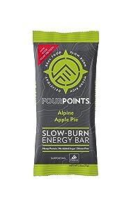 Fourpoints Energy Bars, Alpine Apple Pie, Plant Based Hemp Protein, (2.5oz, Box of 12), Vegan, Paleo, Gluten Free, NO Added Sugars