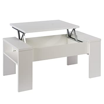 Studio Decor Mesa de Centro elevable Andrea, Color Blanco Brillo, 98 x 50 x 43 cm, Madera manufacturada, 98.4x50.2x42.6 cm: Amazon.es: Hogar