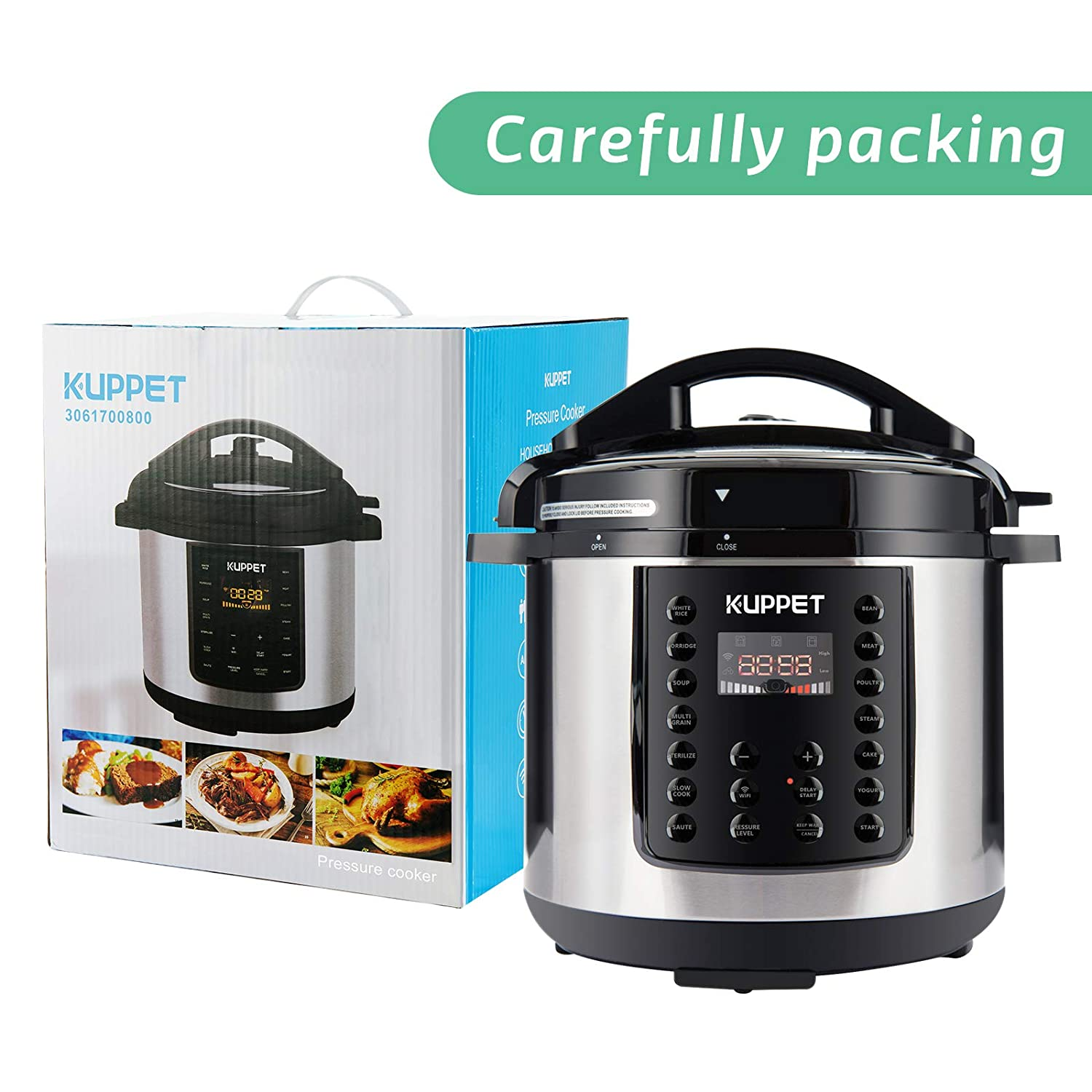 Stainless Steel 1000W Warmer Slow Cooker Rice Cooker Yogurt Maker Saute KUPPET 10-in-1 Electric Pressure cooker MultiPot Steamer 6 Qt Smart WiFi Multi use Programmable Multi Cooker with Recipe APP