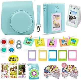 Fujifilm Instax Mini 9 or Mini 8 Instant Camera Accessories Bundle. RASPBERRY 11 Piece Gift Box Fuji accessories Kit Includes: Mini Case + Strap, Photo Albums, Filters, Selfie Lens, 60 Stickers & More