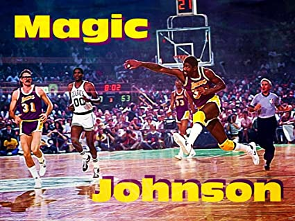 ce4e496ae Image Unavailable. Image not available for. Color  Magic Johnson Showtime  Pass Painting Retro Vintage Art Los Angeles Lakers Assist 24x18 Poster Print