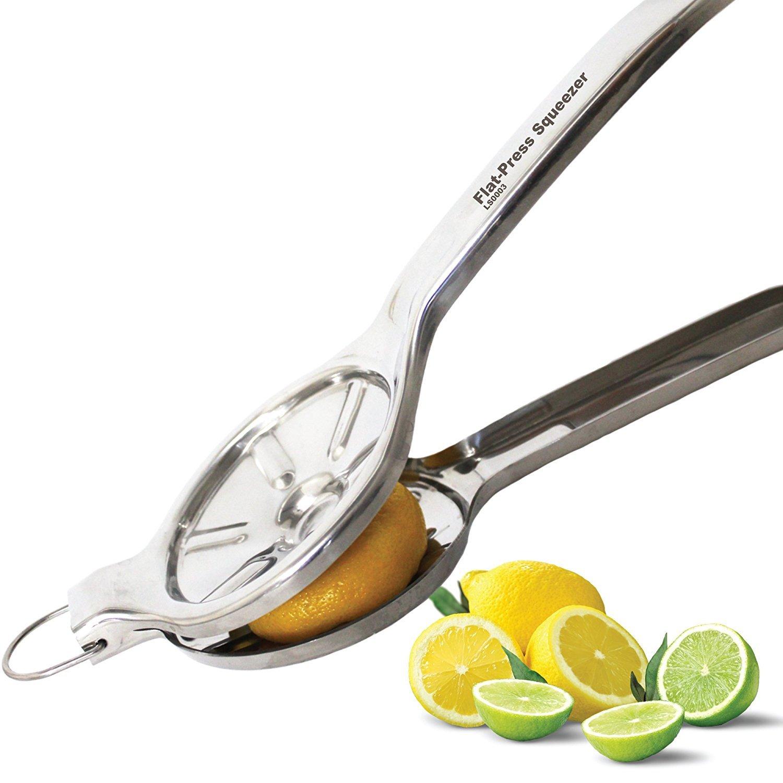 PATENT PENDING EcoJeannie Jumbo Size FLAT PRESS 100% Stainless Steel Lemon Squeezer for Pressing lemon-half FLAT, Never Rust Never Break, Ultimate Manual Lemon Juicer, Lime Juicer Squeezer (LS0003) Arrow Industries Inc.