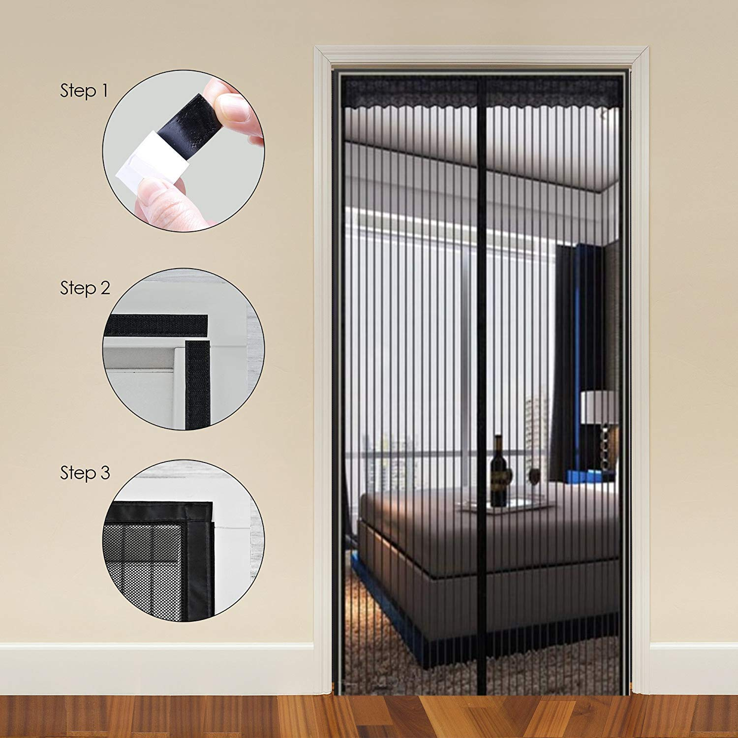 Easy Installation Without Drilling 34/×83in, Black Nvetls Magnetic Screen Door Fly Mosquito Insect Screens Mesh Curtain Fits Door