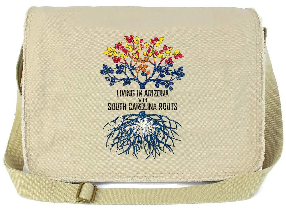 Tenacitee Living In Arizona with South Carolina Roots Grey Brushed Canvas Messenger Bag
