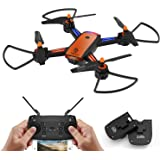 Drone with Camera, TOPVISION FPV RC drone for beginners with 720p and 480P Camera 120 Wide Angle WiFi Quadcopter with Altitude Hold Headless Mode 3D Flips RTF, VR Mode, Orange