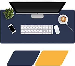 Large Desk Pad 80x40cm, Double-Sided Desk Mat, PU Leather Gaming Mouse Pad for PC Laptop, Waterproof Mouse Keyboard Mat, Non-Slip Desk Protector, Desk Writing Pad, Home Desk Accessories, Navy & Yellow