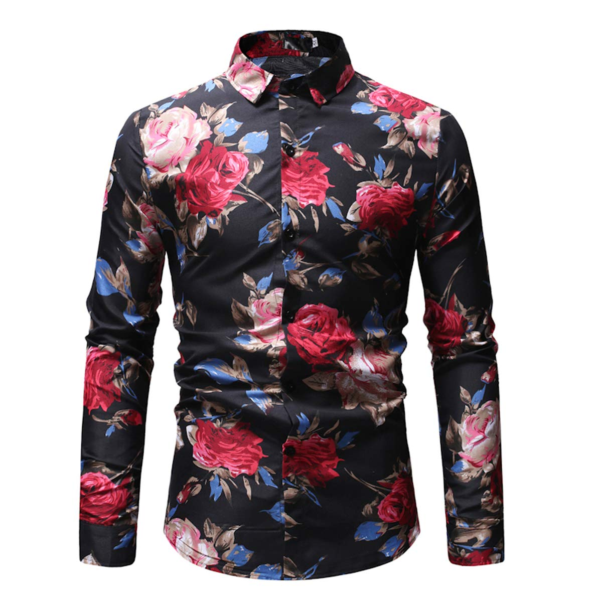 Mens Printed Lapel Button Down Shirt Top Long Sleeve Slim Fit Casual Blouse