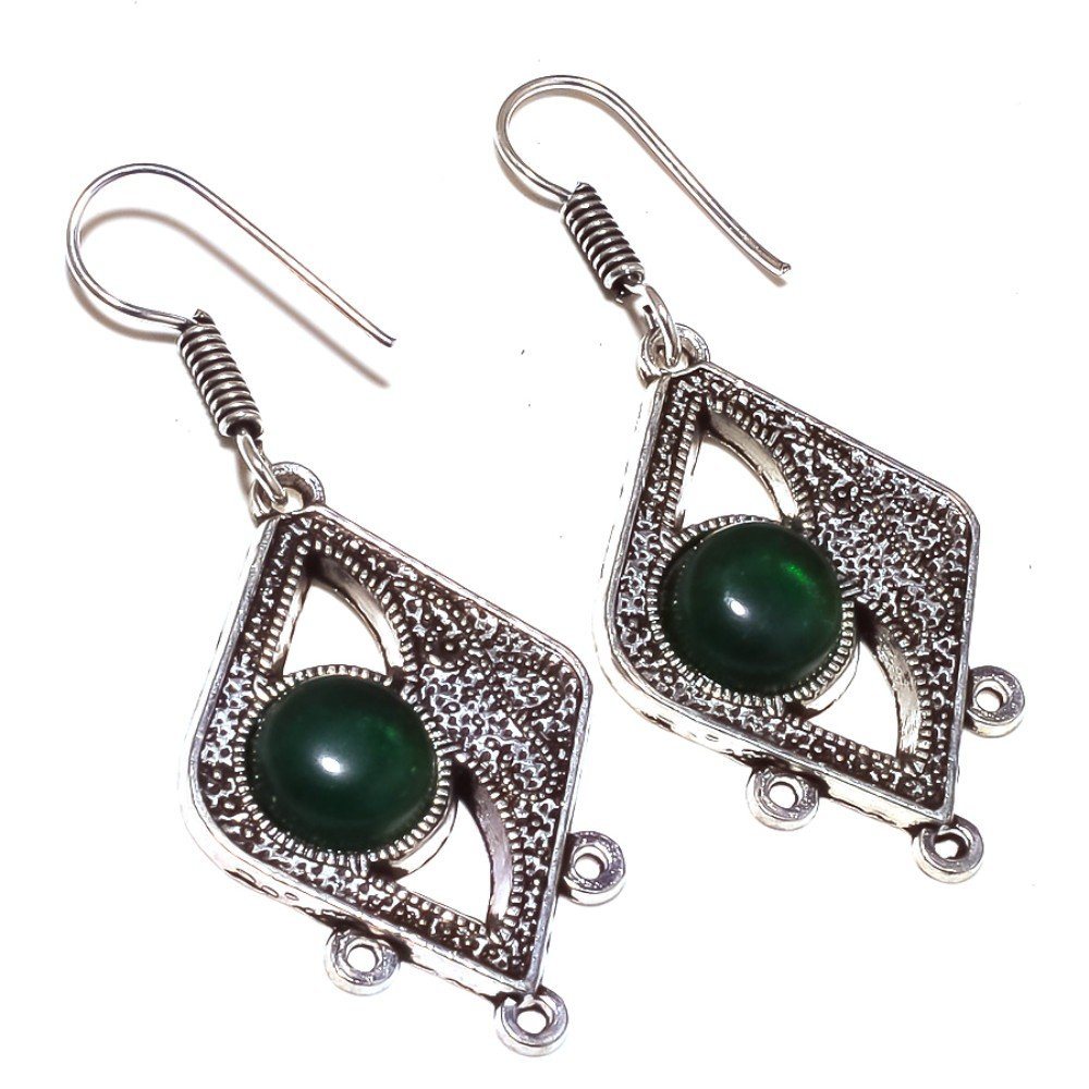 Green Quartz Sterling Silver Overlay Oxidized Earring 2.25 Handmade Jewelry Gorgeous