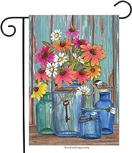 "Briarwood Lane Farm Fresh Flowers Spring Garden Flag Mason Jars 12.5"" x 18"""