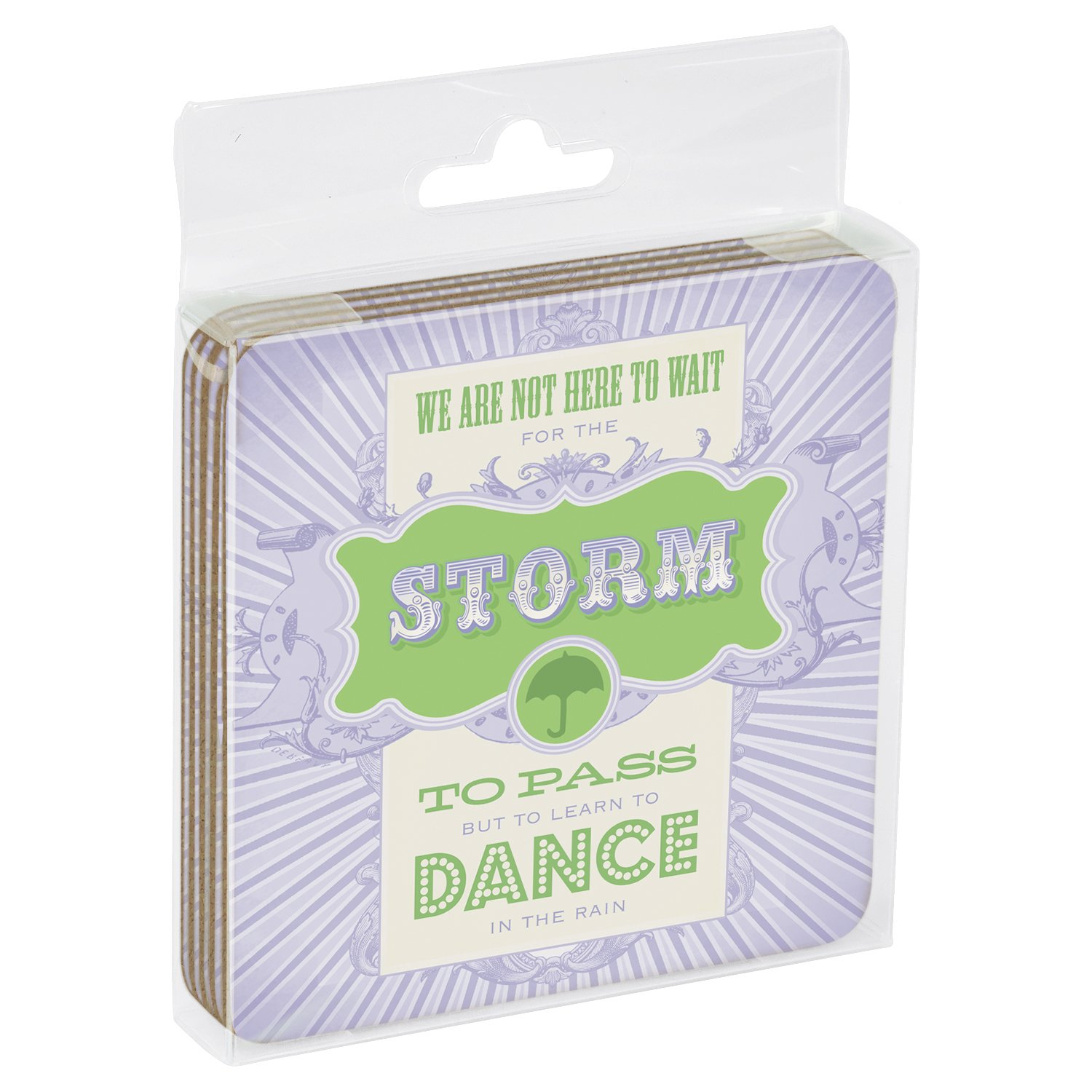 Tree-Free Greetings Set Of 4 Cork-Backed Coasters Passing Storms Themed Inspriational Quote Art 96184 3.75 x 3.75 Inches