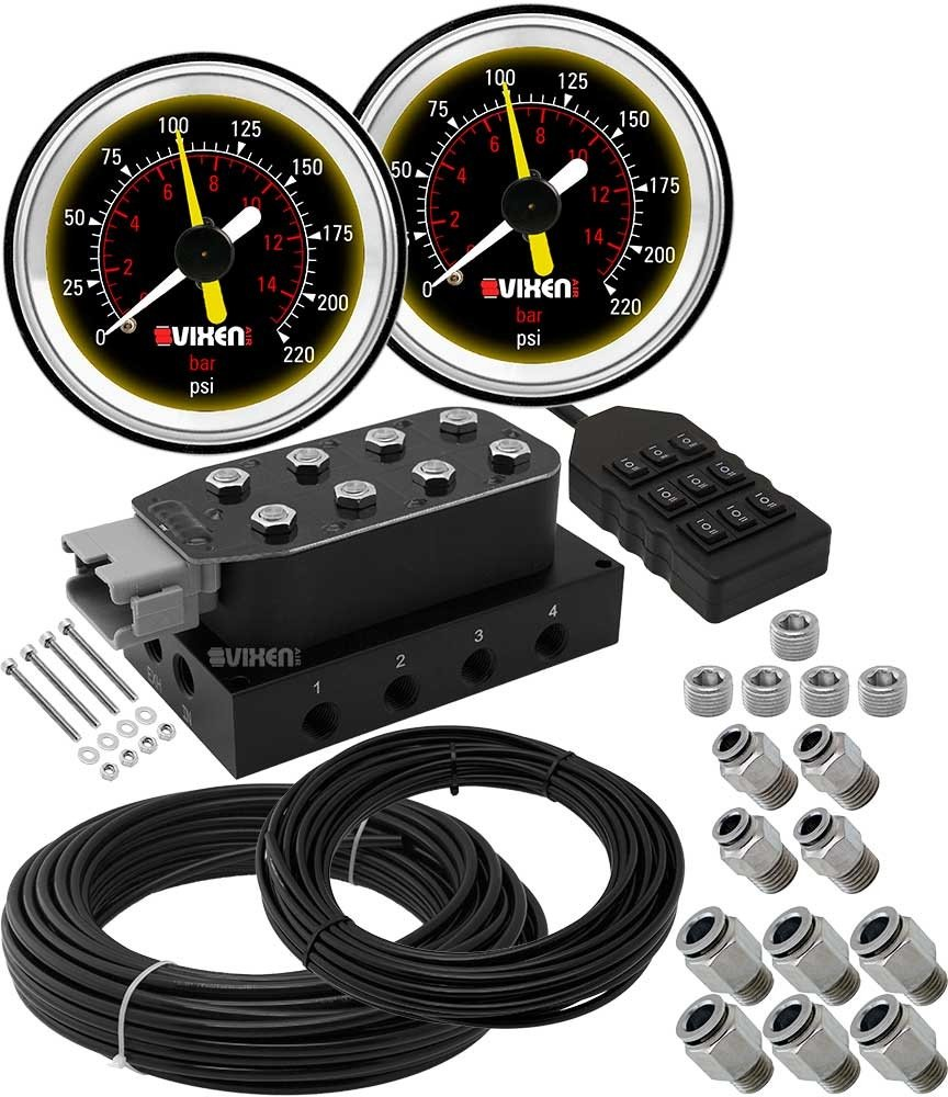Vixen Air 8 Valve Suspension Manifold with Two Dual Needle Black Gauges, 3/8'' OD Hose 100 FT, 1/4'' OD Hose 50 FT and Fittings VXF4CM01B