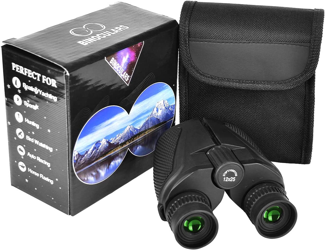 Binoculars Telescope with Multilayer-coated Lenses for Adult Bird Watching Astronomy Football Safari Sightseeing Climb Compact but Large Eyepiece 12X25 High Power Binoculars