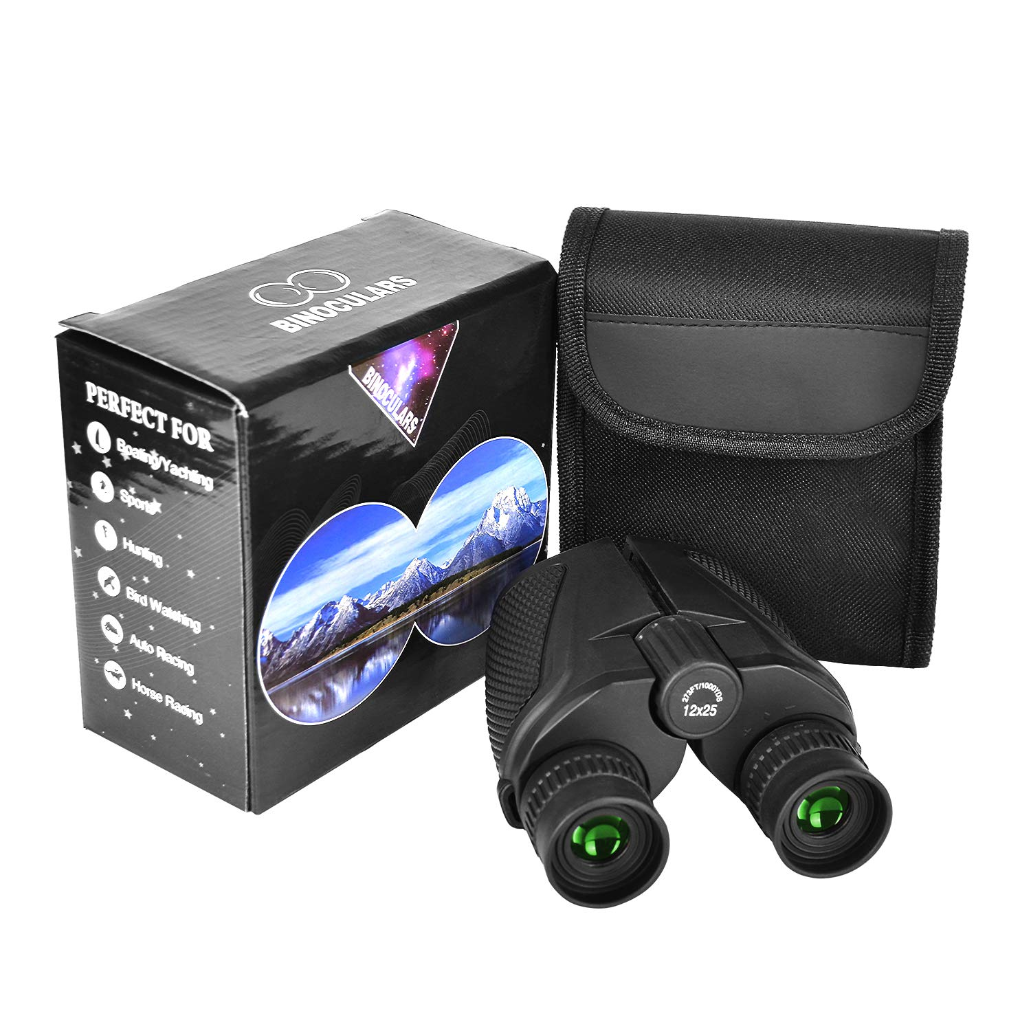 RONHAN Compact Binoculars for Adults Kids,12x25 Small Folding High Power Binoculars Waterproof/Fogproof Telescope with Low Night Vision HD BAK4 for Bird Watching, Hunting, Theater, Concerts, Sports by RONHAN
