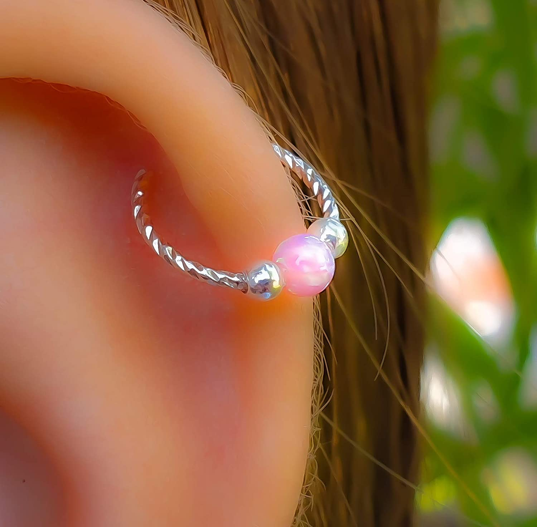 Amazon Com Pink Opal Helix Earring Hoop 925 Sterling Silver