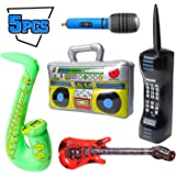 WATINC 5Pcs Inflatable Rock Star Toy Set, Inflatable Boom Box Mobile Phone Guitar Party Props for 80's 90's Party Decorations, Rock and Roll Party Favors Supplies, Christmas Birthday Party Gifts