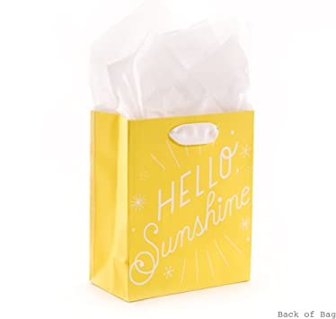 Amazon Com Hallmark 6 Small Yellow Gift Bag With Tissue Paper Hello Sunshine For Baby Showers Birthdays Get Well Or Any Occasion Kitchen Dining