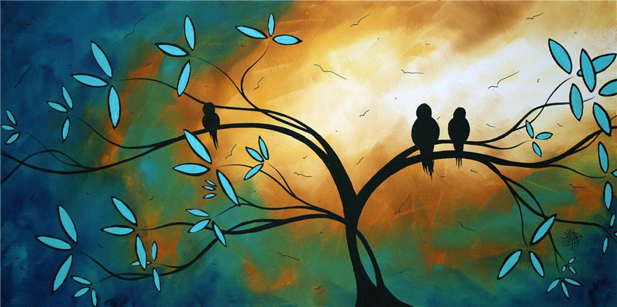 100% Hand Painted Oil Paintings Modern Abstract Oil Painting on Canvas Birds on the Branch Home Wall Decor (8X14.5 Inch, Oil Painting 1)