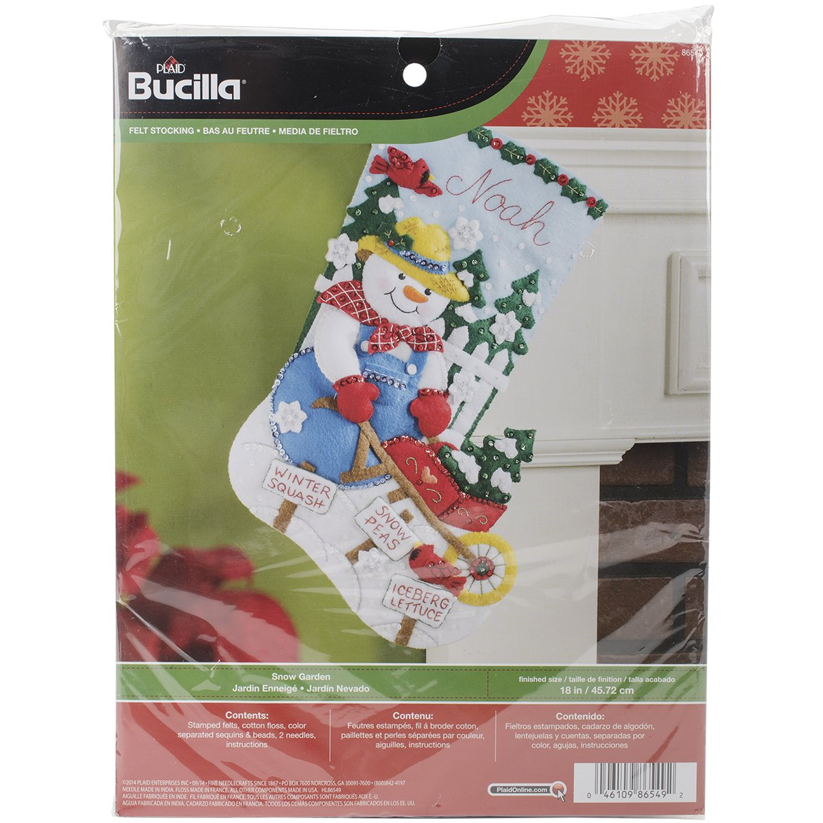 BUCILLA 86549 Snow Garden Felt Applique Stocking Kit, 18-Inch