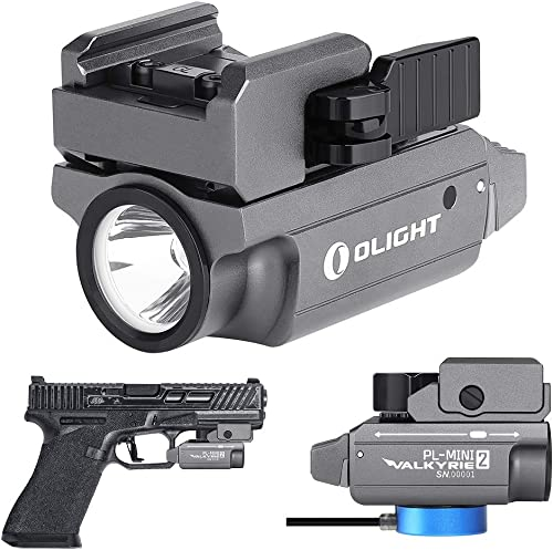 OLIGHT PL-MINI 2 valkyrie 600 Lumens Magnetic USB Rechargeable Compact Weaponlight with Adjustable Rail for Glock, Picatinny Rail Pistol Light Limited Edition Gunmetal Grey