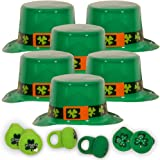 St. Patrick's Day Party Favors Pack -- 6 Sets of Hats and Flashing Rings (Green Shamrock, St. Patrick's Day Party Supplies)