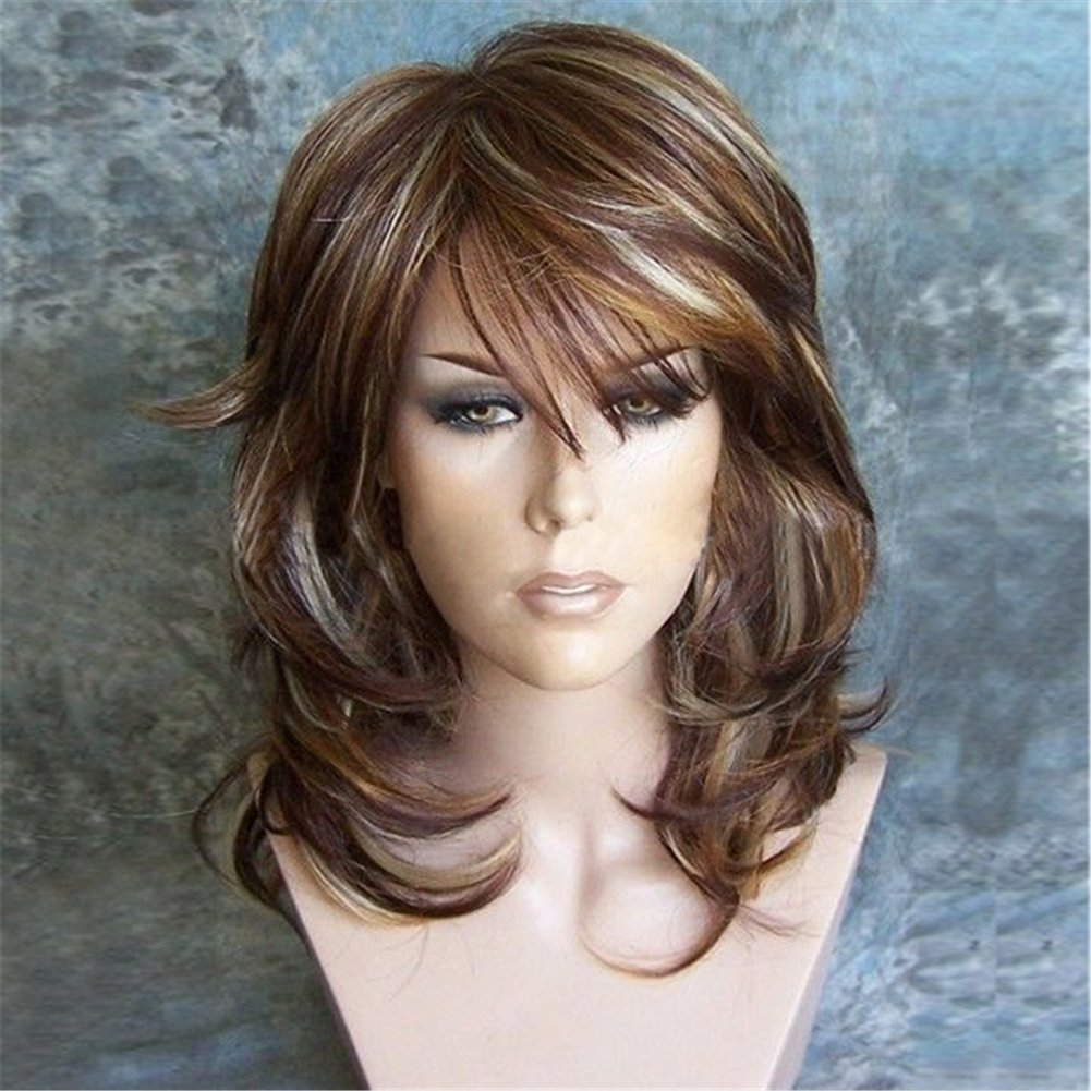 """Amazon.com: Aibelly 17"""" Synthetic Full Hair Wig Sexy Women Medium Side Bang  Highlighted Layered Slightly Curled Wigs Heat Resistant Fashion Noble  Parting ..."""