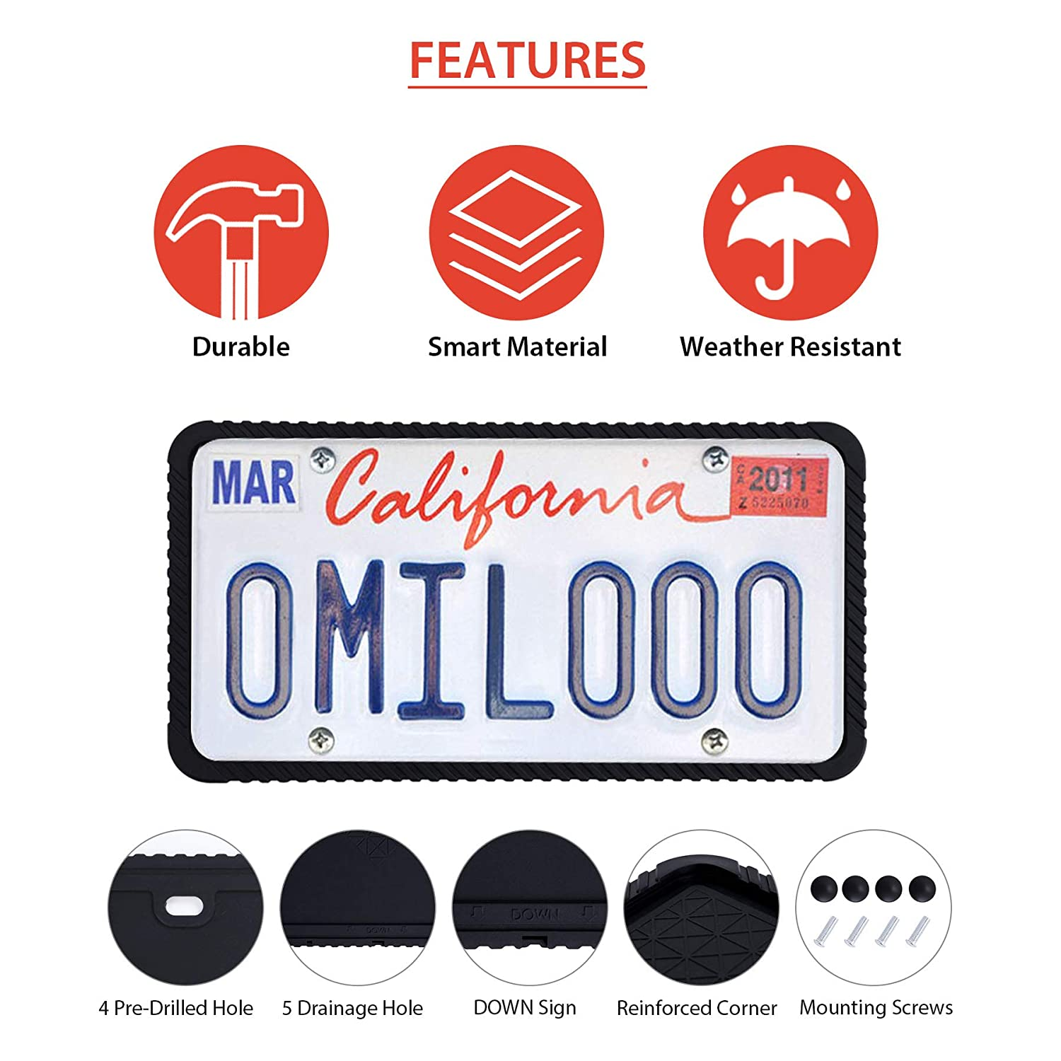 Orion Motor Tech Silicone License Plate Frame Visible Letters and Stickers License Plate Cover Mounting Screws Rattle-Proof Scratch-Proof Universal Plate Holder Weather-Proof Rust-Proof