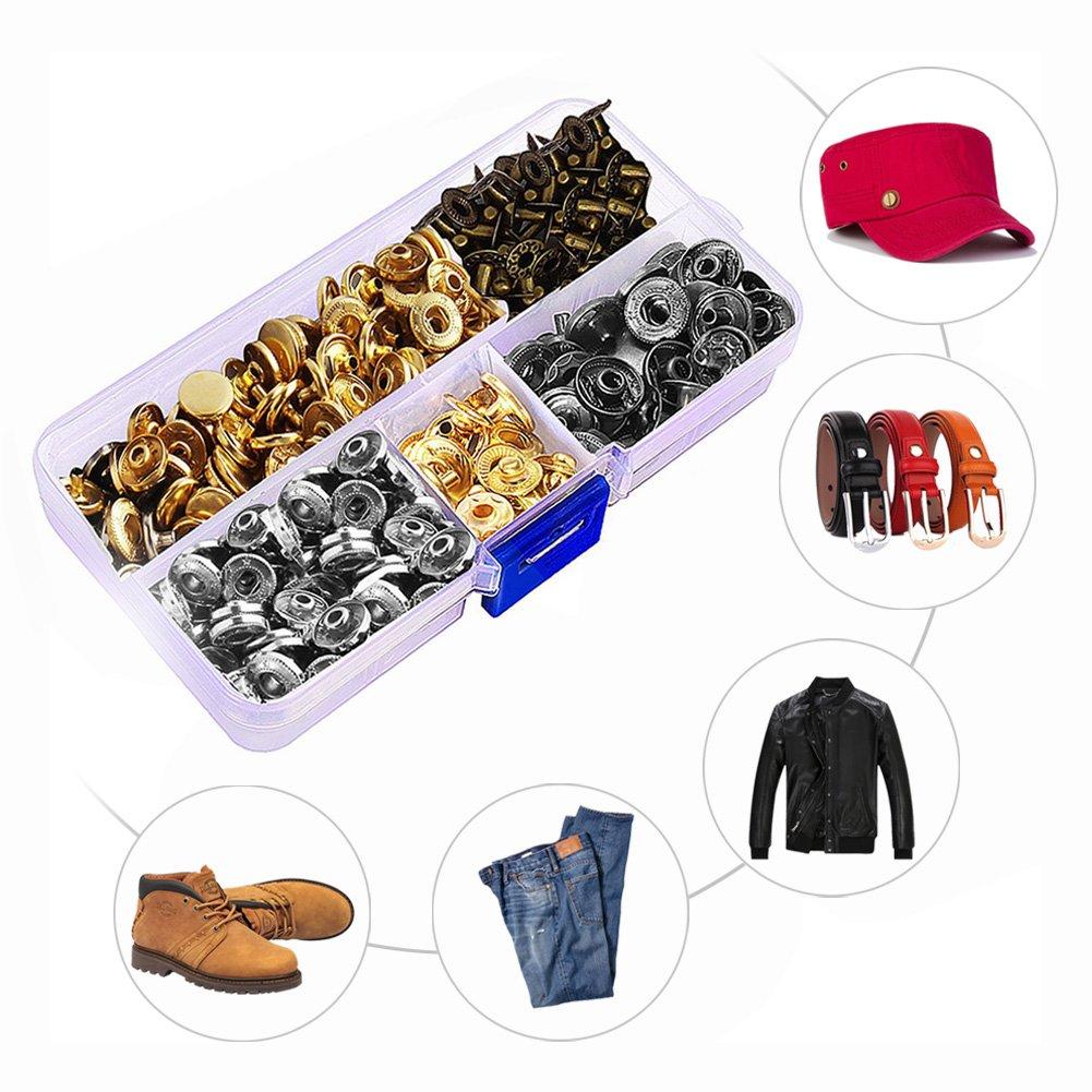 Remaches de Repuesto Chaqueta de plum/ón Manualidades PROKTH/® Kit de Herramientas de Cuero para Manualidades bot/ón de Metal 4 Colores Herramientas de Manualidades