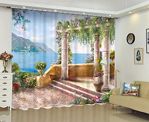 LB Lake Window Curtains for Bedroom Living Room,European Style Seaside Garden Nature Scenery Teen Kids Room Darkening Blackout Curtains Drapes 2 Panels,28 by 65 inch Length