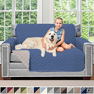 Sofa Shield Original Patent Pending Reversible Loveseat Slipcover, 2 Inch Strap Hook, Seat Width Up to 54 Inch Furniture Protector Washable, Couch Slip Cover for Pets, Kids, Love Seat, Denim Lt Taupe