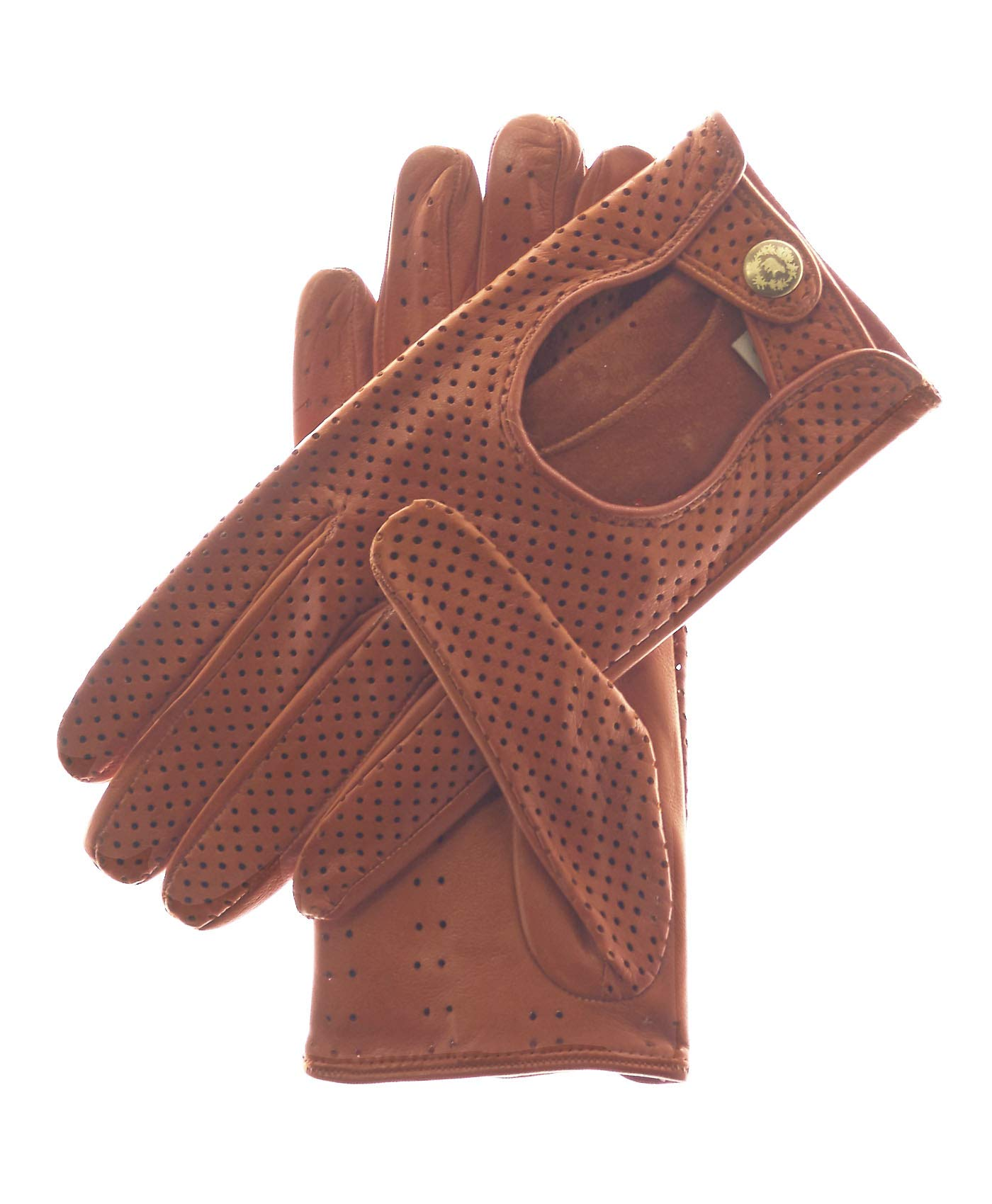 Fratelli Orsini Women's Ventilated Leather Driving Gloves Size 6 1/2 Color Cognac