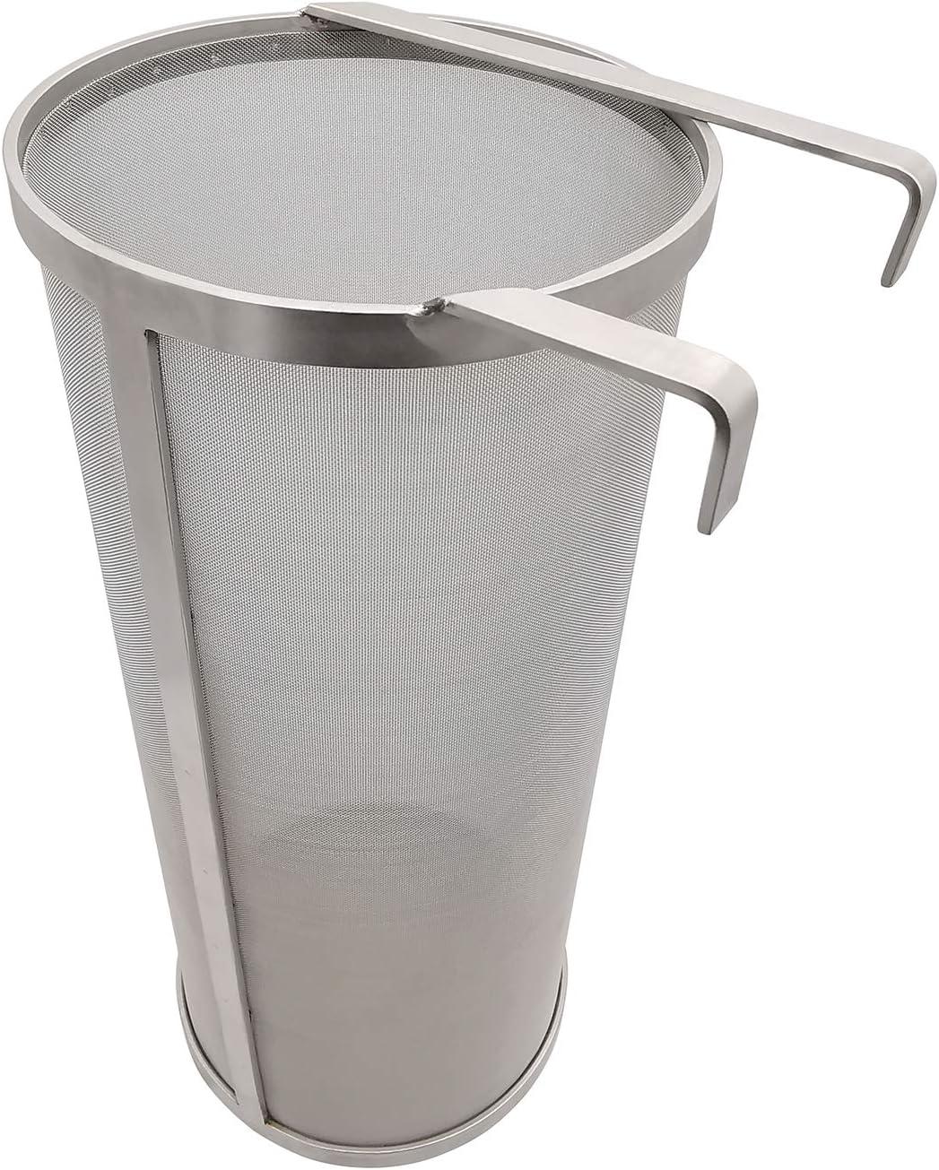 "Hop Hopper Spider Strainer Basket Filter for Homebrew Hops Beer & Tea Brewing Bucket Fermenter Kettle, 304 Stainless Steel 300 Micron Mesh - 6"" x 14"""