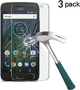 Moto G5 Plus Screen Protector,TANTEK Anti-Bubble,HD Ultra Clear,Scratch Resist,Premium Tempered Glass Screen Protector for Motorola Moto G Plus 5th Generation,-[3-Pack]