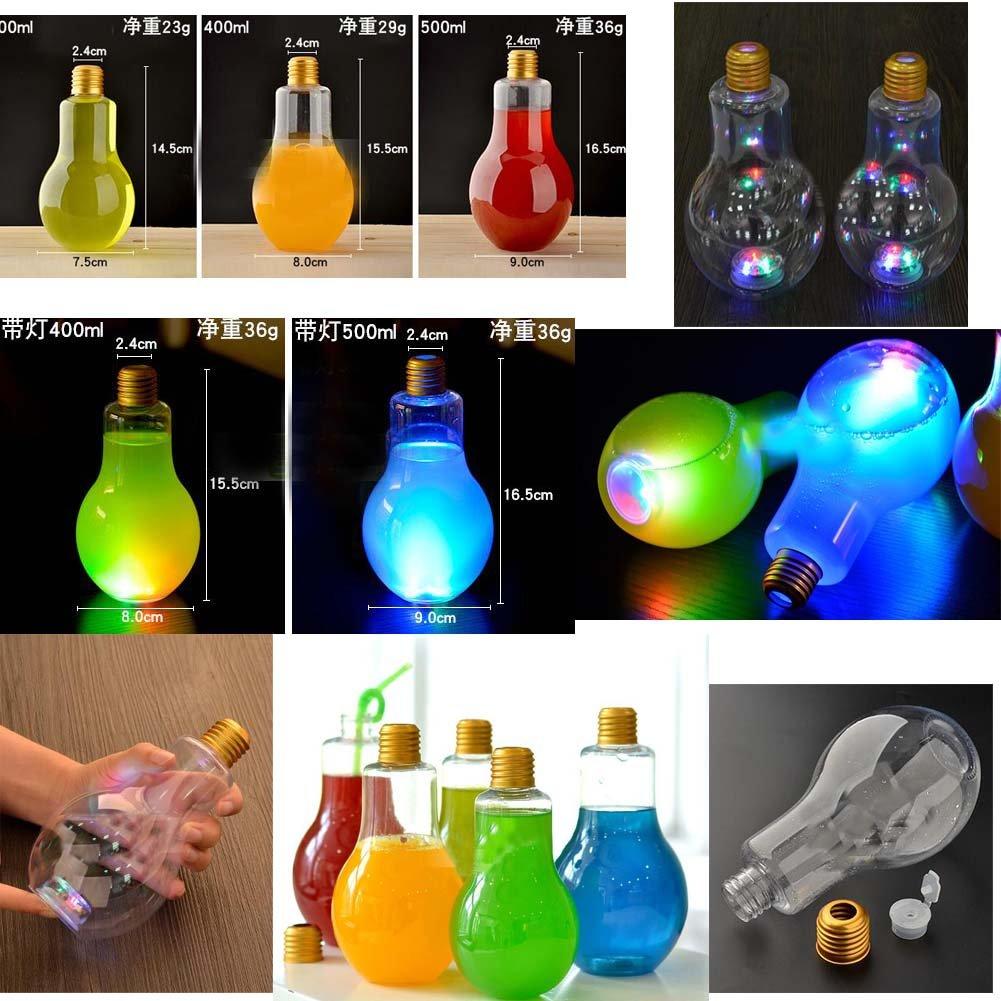 Botellas de jugo desechables forma de bombilla transparente con luz conjunto de 10: Amazon.es: Salud y cuidado personal