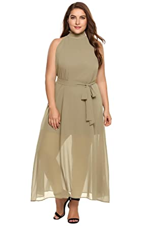 acacd7e2c4 Zeagoo Womens Plus Size Chiffon Sleeveless Maxi Formal Dresses Solid Belted  Party Dress, Khaki3,