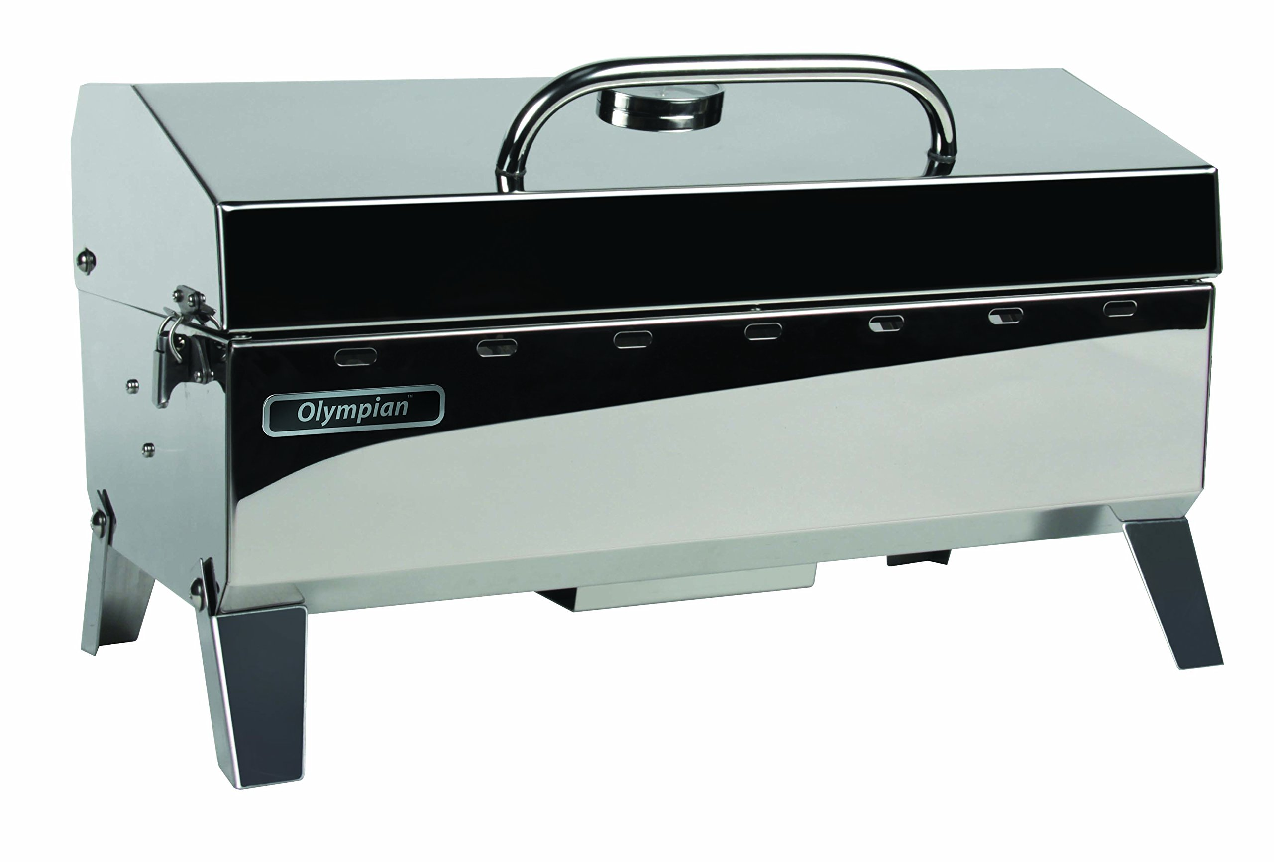Camco Olympian 4500 Stainless Steel Portable Gas Grill - Connects To 1 lb Disposable Propane Bottle, Integrated Folding Tabletop Legs (57251)