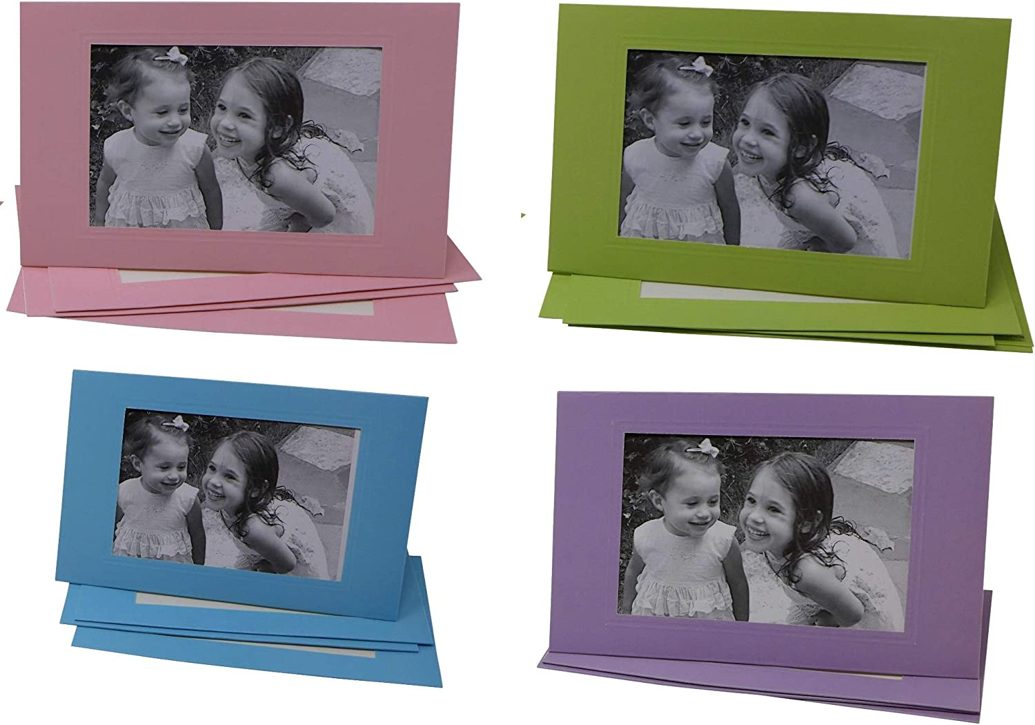 Photo Frame Greeting Cards Fits 4 x 6 Photo Insert (Pack of 4, 16 Cards Total in 4 Colors: Pink, Blue, Purple, Lime) Holiday Picture Holder Greeting Note Cards