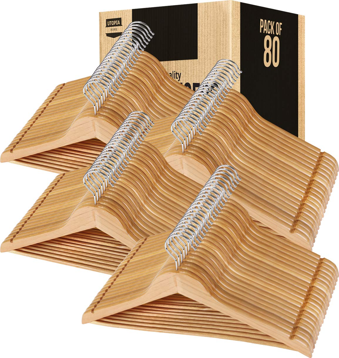 Utopia Home Solid Wooden Bulk Suit/Coat Hangers - Pack of 80 - Ideal for Suits, Coats, Jackets, Pants, Dresses - Natural Finish