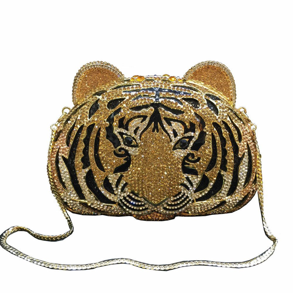 Lady Dazzle Full Diamond Clutch Tiger Head Evening Bag Bling Rhinestone Chain Cross Body Bag Animal Purse (Gold 1)