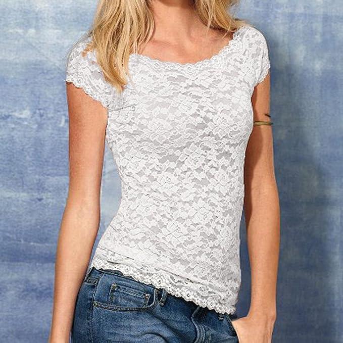 YanHoo Camisa Casual Camiseta de Mujer de Encaje Camisa de Manga Corta Camisa de Mujer Chaqueta Camiseta Casual Camisa Delgada de Mujer: Amazon.es: Ropa y ...