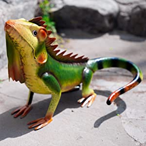 Iguana Garden Statues Outdoor Metal Lizard Figurine for Gardens,Patios and Lawns Decoration