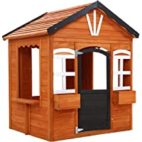 Kids Cubby House Playhouse Outdoor Play House Wooden Cottage Childrens Toddler Set Backyard Garden with Flower Boxes