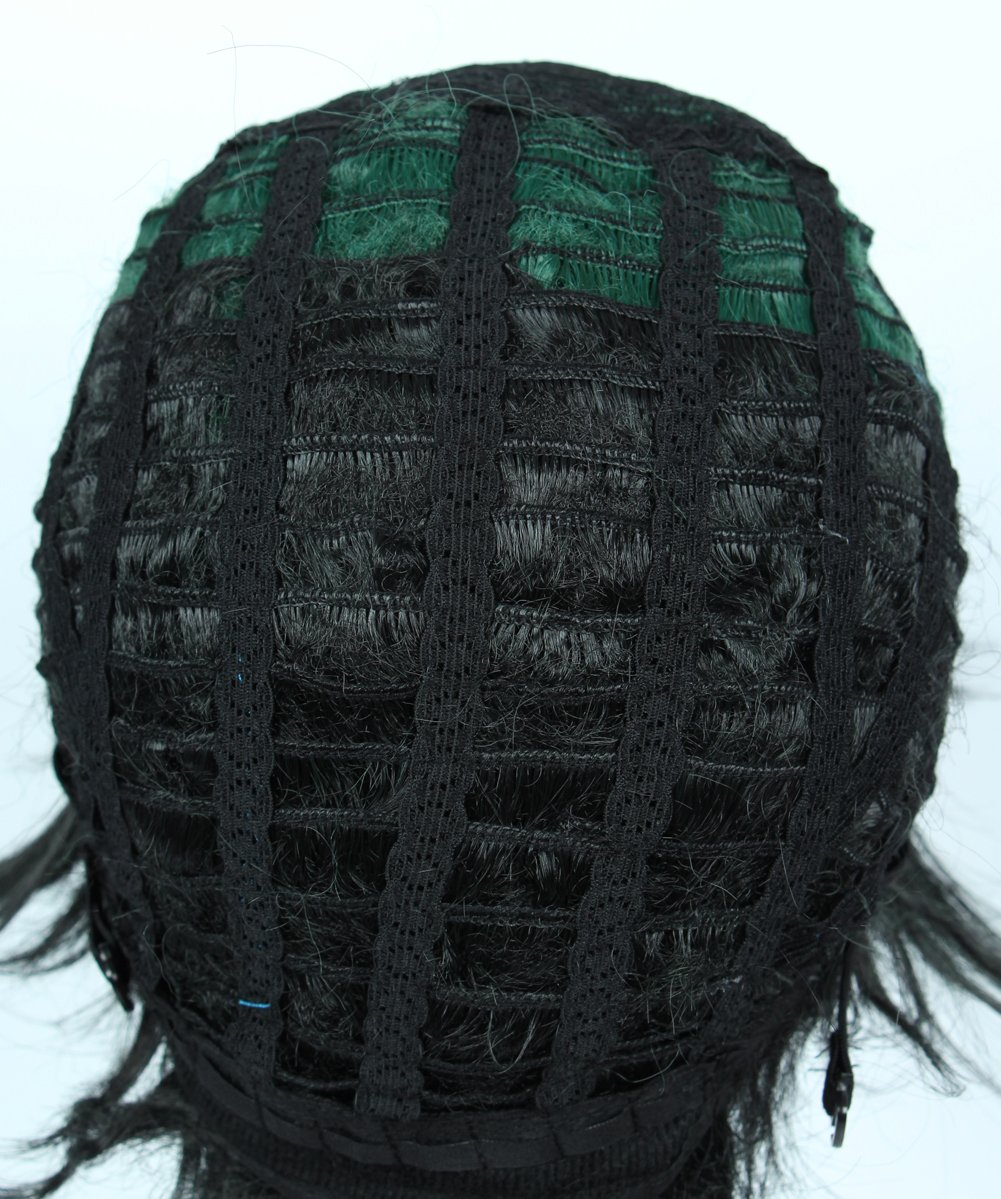 Linfairy Anime Cosplay Wig Short Black Green Halloween Costume Curly Wig by Linfairy (Image #2)