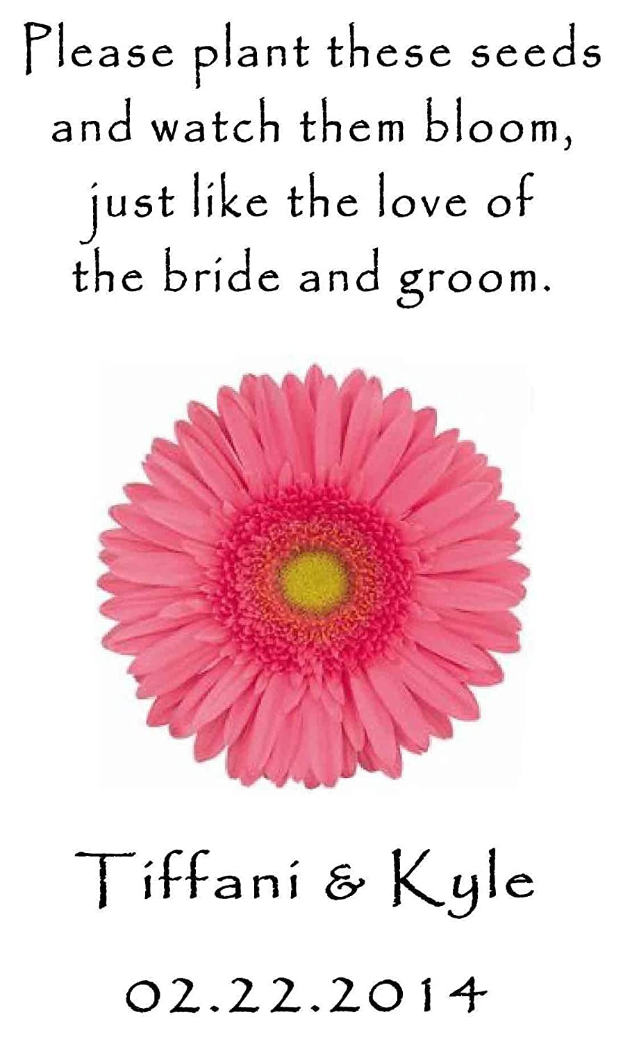 Amazon.com: Personalized Wedding Favor Wildflower Seed Packets Pink ...