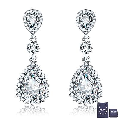 Womens Cubic Zirconia Gala Earrings - Sterling Silver Bridal Long Teardrop  Crystal Rhinestone CZ Dangle Drop 61bdc53df10c