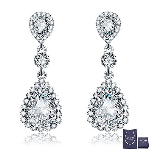 Womens Cubic Zirconia Gala Earrings - Sterling Silver Bridal Long Teardrop  Crystal Rhinestone CZ Dangle Drop e6e681dade21