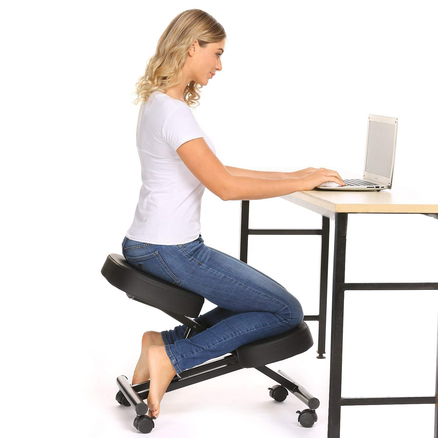 Papafix Ergonomic Kneeling Chair - Faux Leather - Thick Comfortable Moulded Foam Cushions - Smooth Gliding Casters & Brake Casters,Adjustable Stool for Home & Office