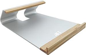 "Atech Flash Aluminum + Wood Laptop Stand - Notebook Cooling Desk Dock - Rest Neck Eyes Wrists Shoulders - Fits 12""~15"" Apple MacBook Pro, MacBook Air, Chromebook, PC Laptop (Silver)"