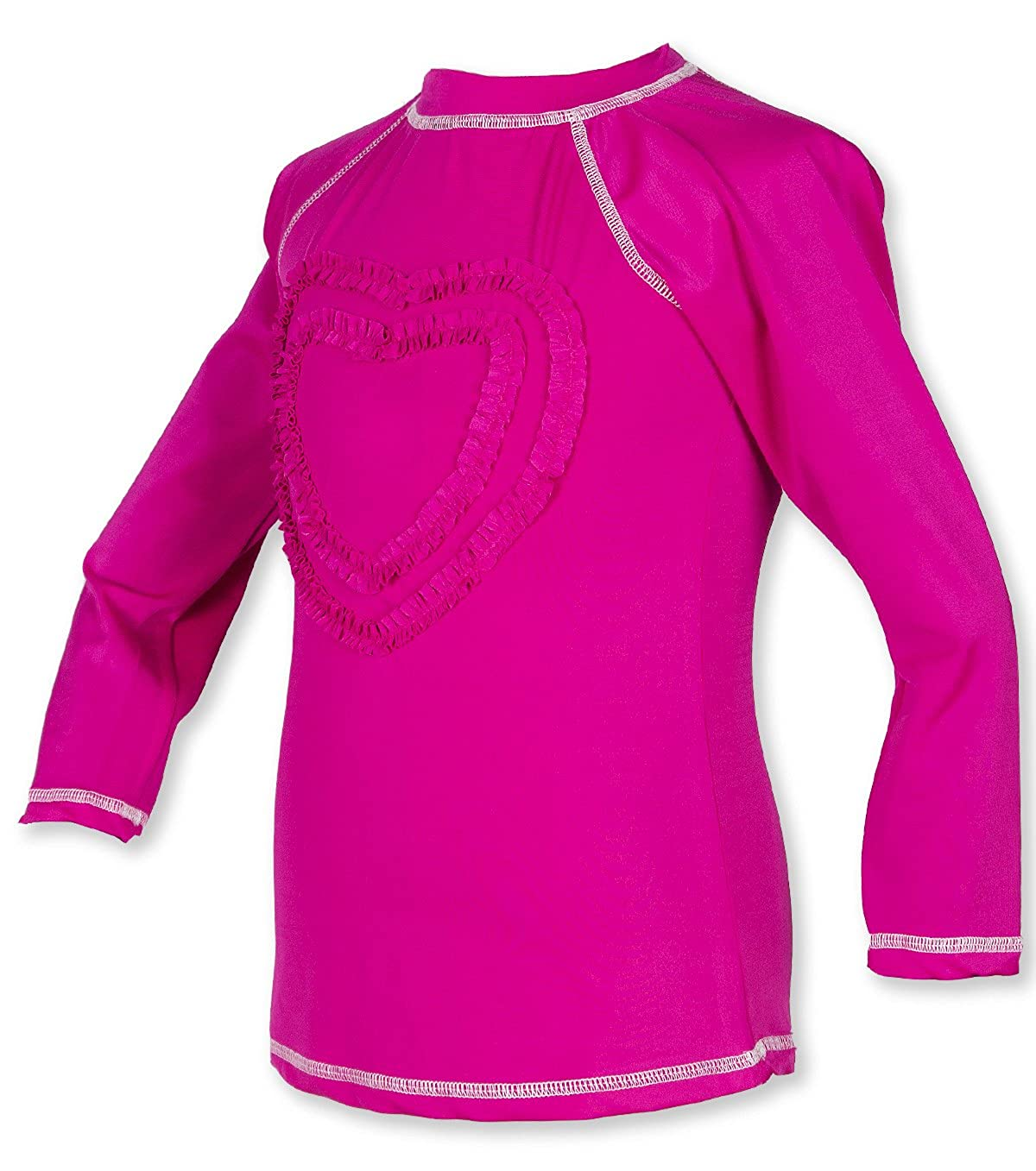 Sun Protective Girls Ruffled Valentine Solid Rash Guard Swim Shirts UPF 50