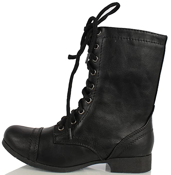 815189b77 Amazon.com | Soda Women's Relax Faux Leather Military Combat Lace Up Boots,  Black, 6 M US | Boots