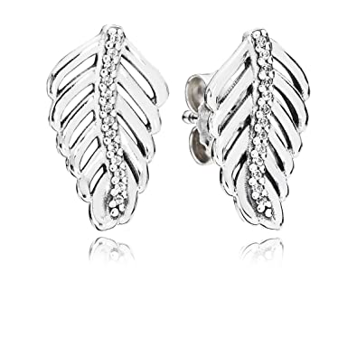 b27b76c50 Image Unavailable. Image not available for. Color: Pandora Shimmering Feathers  Silver Earrings 290582CZ